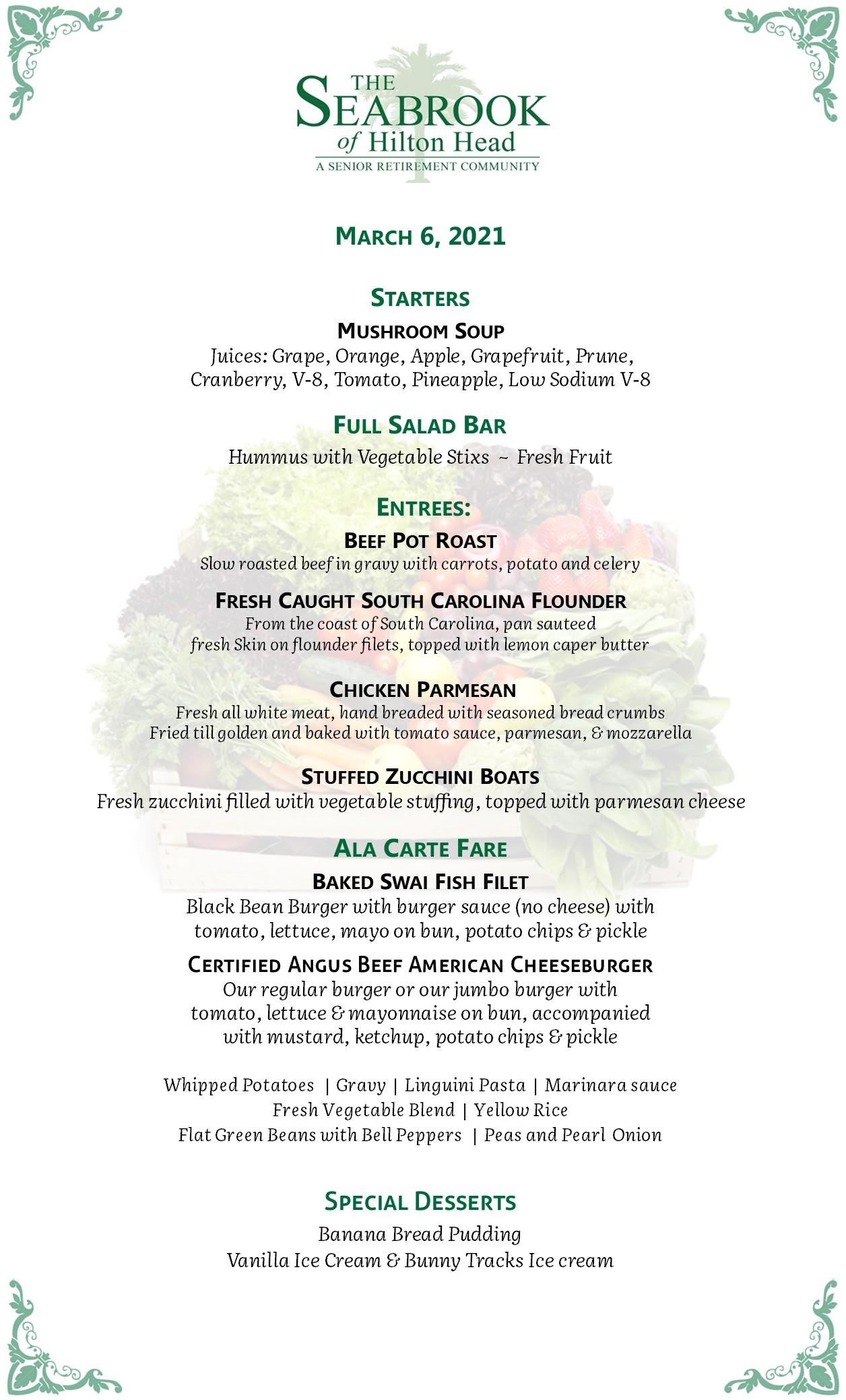 View a sample menu